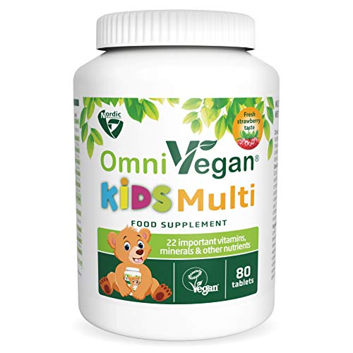 OmniVegan Kids Multi-Vitamin and Mineral 22 nutrients 80 chewable Tablets - Nordic Quality