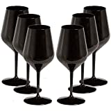 TUNDRA ICE INTERNATIONAL 6 Teiliges Weinglas 47 Cl in Tritan® (Hartplastik-Bpa-frei), 100% Italian Design Weingläser, unzerbrechlich, wiederverwendbar und spülmaschinenfest, Schwarz