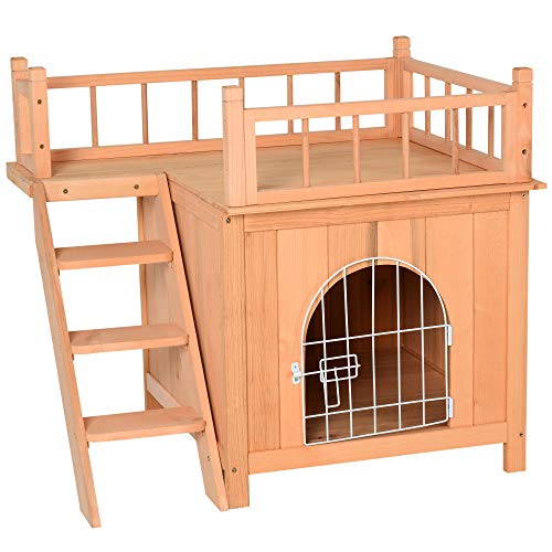 PawHut 2-Level Elevated Waterproof Outdoor Wooden Treehouse Cat Shelter with Balcoy