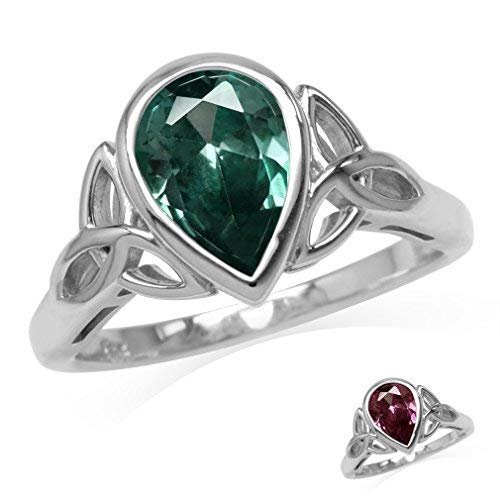 Silvershake 10X7mm Pear Shape Simulated Color Change Alexandrite 925 Sterling Silver Triquetra Celtic Knot Ring Size 9