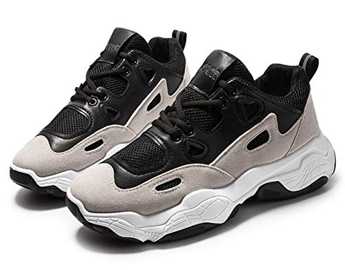 XIMIXI Zapatillas de deporte para hombre con suela de goma resistente con cordones de malla transpirable zapatos deportivos de moda para hombres corriendo al aire libre, color Negro, talla 42 2/3 EU