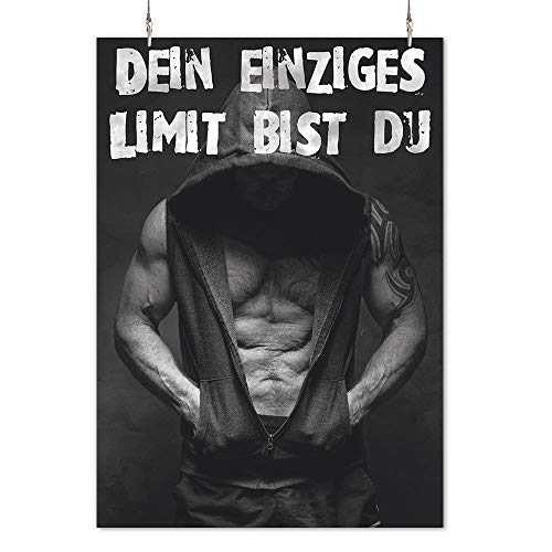 HAPPY FREAKS Poster 'Limit Mann' DIN A2 - Sport-Wandbild Motivation - Plakat ohne Rahmen - Bilder und Dekoration
