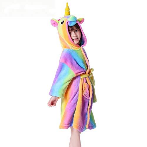 LEYUANA Cartoon Bademantel Kinder, Baby Mädchen Flanell Soft Robe Pyjama Coral Kinder Kapuze Mode Kleidung 4T Rainbowbathrobe2
