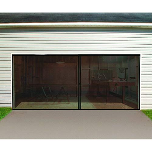 NEW Double Garage Door Screen 16 Ft. W x 7 Ft H Magnetic Closure Weighted Bottom