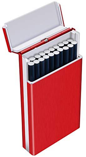 Tenfel レディースシガレットケース スリム 100mm ロング タバコ 20本収納可 軽量 頑丈 タバコケース レッド 夏場 汗 対策 ワンタッチ開き 人気なギフト