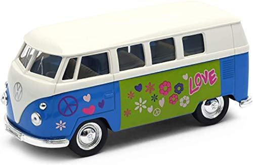 Brandsseller Modellauto in Form von VW Bully T1 Flower/Peace/Love 1963 Bus 1:34 Bus Blau
