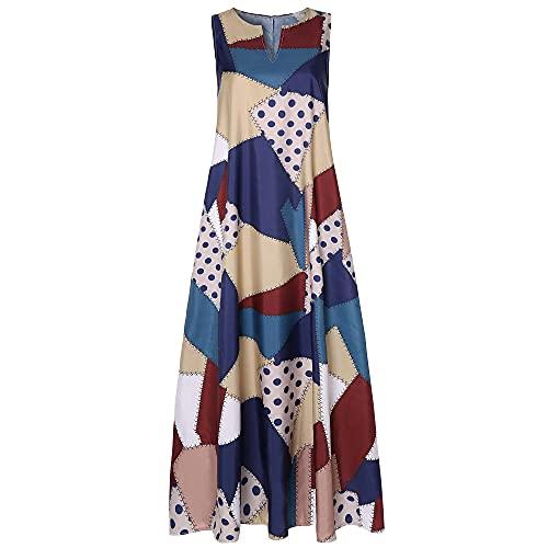 Vestido Maxi De Mujer,Vestido Suelto Casual De Mujer Patrón De Costuras De Colores Suaves Y Vintage Con...