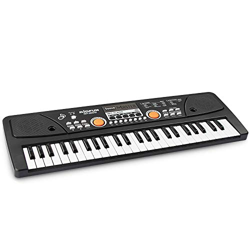 aPerfectLife keyboard piano, 49 Keys Piano Keyboard Multifunction Portable Piano Electronic Keyboard Music Instrument for Kids Early Learning Educational (Black)