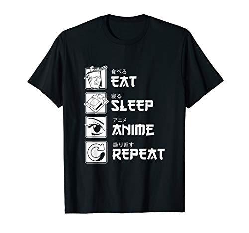 Otaku Anime Liebhaber Japanisch Essen Schlafen Anime T-Shirt