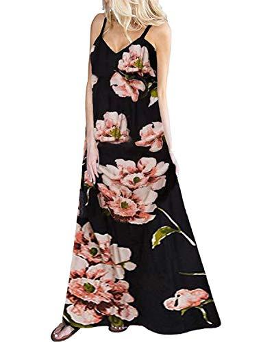 Kidsform Vestidos Largos Verano Mujer Vestidos Playa Vestido sin Mangas Estampados Florales Vestido sin Espalda con Cuello en V Elegante D-Flor Negra XL
