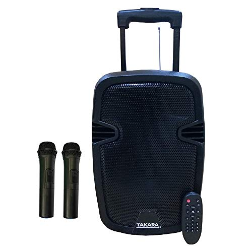 TAKARA T-6008 Portable Trolley 8 Inch Speaker Multimedia Bluetooth, Karaoke with Audio Recording, USB, Rechargeable Battery PA System with 2 Wireless Mic Outdoor Trolly Speakers