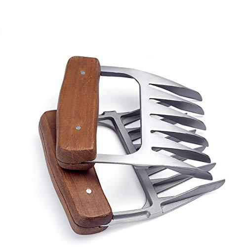 JANRON Meat Claws Barbecue Pinces en Acier Inoxydable Fourchette à Viande en métal avec Manche en Bois, Fourchette à Griffes d'ours pour Porc Beef, Chicken, Grill, BBQ, Silver 2PCS