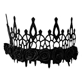 Lurrose Halloween Black Crown Gothic Crown Headpiece Black Rose Crown Halloween Tocado Foto Prop para Maquillaje Ball Party Masquerade Cosplay (Negro)