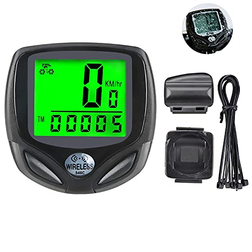 Elehui 16 Functions Bike Computer Wireless with Automatic Wake-up Multi-Function,LCD Backlight Display Waterproof Cycle Speedometer,Mountain Bicycle Speedometer Bike Odometer for Rider (Green display)