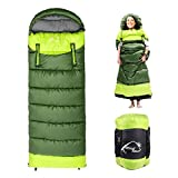 0 Degree Wearable Sleeping Bag for Adults Compact Lightweight Cold Weather Mummy Sleeping Bags for 2-3 Season Camping Backpacking, Fits 5°F ~ 50°F, 4.3lbs More Warmer (Green, Right)