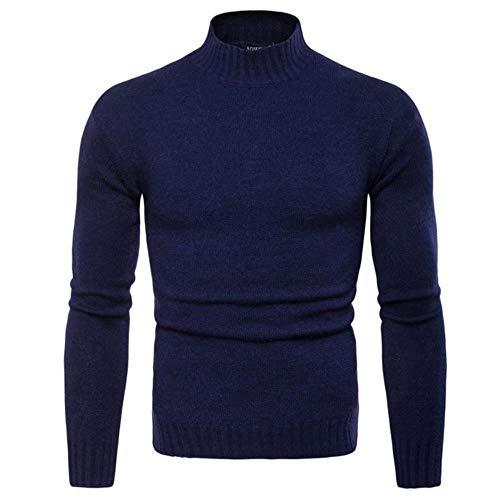YANGPP Sweater Men No Turning Up Turtleneck Slim Bottom Sweater Knit Sweater Wool Blend Sweater,Navy Blue,M