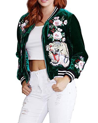 Hyling Damen Samt Bomberjacke Rose Stickerei Biker Patchwork Baseball Mantel Outwear - Grün - Mittel