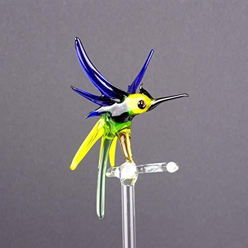 Orchideenstab aus Glas mit Vogel, Rankhilfe, Blumenstab, Lauscha, Handarbeit