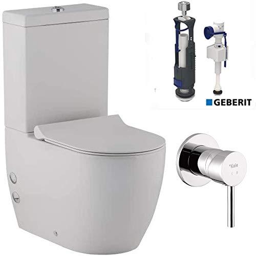 Alpenberger Stand-Dusch-WC mit Spülkasten & UP Armatur (Anschluss an Warm- und Kaltwasser) & GEBERIT Spülgarnitür & Abnehmbarer WC-Sitz mit Absenkautomatik | Ablauf Waagerecht und Senkrecht möglich