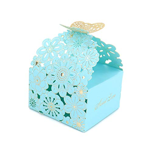 Kslong 50Pcs/Set Flower Butterfly Hollow Candy Box Cookie Gift Boxes Romantic Wedding Favors Cute Chocolate Box for Wedding Bridal Birthday Party Supplies (Blue, S)