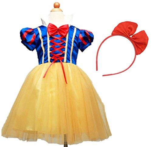 (Miwoluna) ハロウィン コスプレ 白雪姫 ドレス 子供 女の子 カチューシャ付き 衣装 仮装 可愛い パーティー プリンセス なりきり 変身 キッズ コスチューム 120cm