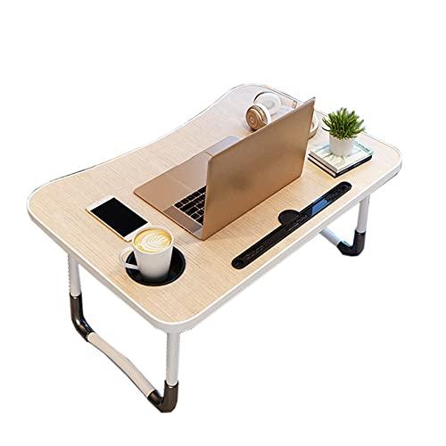 HYYYH Mesa pequeña en la Cama Escritorio para computadora portátil Escritorio de la Cama Perezosa Mesa Plegable Simple (Color : Beige, Size : 60 * 40 * 28cm)