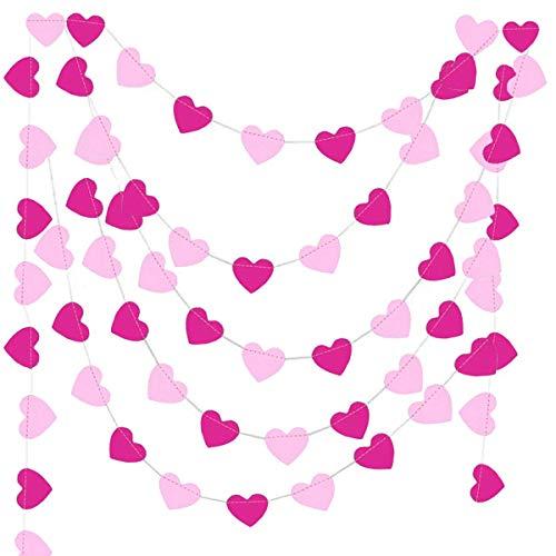 Jonami Ghirlanda di Carta Cuori Rosa Decorazione Battesimo Bimba, Festoni Fucsia e Bianco per Festa Compleanno -9 Metri-