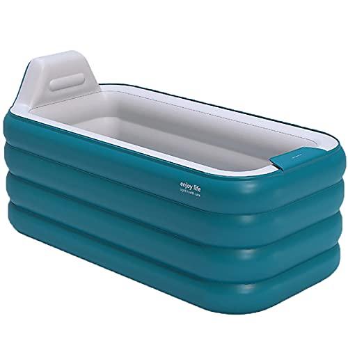 YUNZI Aufblasbare Badewanne Antirutschmatte Badewanne Aufblasbare Badewanne Für Dusche Kinder Schwimmen Badewanne Aufblasbar Erwachsene Faltbadewanne EIN Bad Nehmen 160Cm,Blau