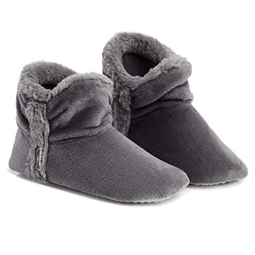 Dunlop Women Bootie Slippers, Ladies Quality Ankle Slippers Memory Foam, Sheepskin Bootie Slippers Indoor Outdoor Shoes, Comfy Warm Winter Slipper Ankle Boots, Gift for Ladies (6 UK, Charcoal)