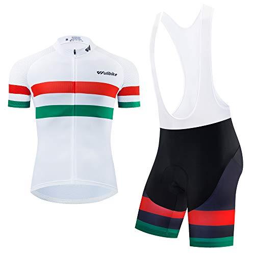 logas Tuta da Ciclismo Uomo MTB Maglia Bandiera Italiana Maniche Corte + Pantaloncini Imbottiti Completo Bici da Corsa Estivo
