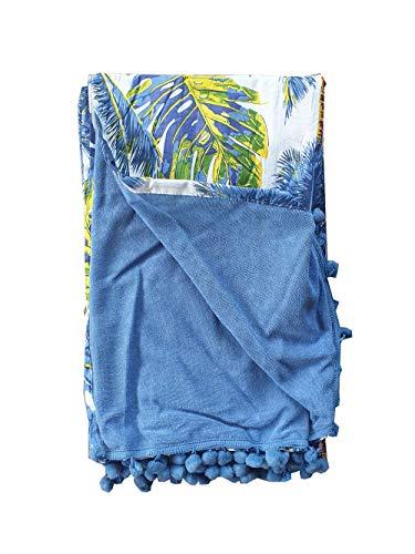 Asciugamano Pareo da Spiaggia Telo Mare con PON PON Doppio Tessuto 100% Cotone Motivo...