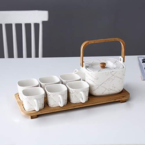 SHYOD Juego de té de mármol de mármol de imitación de Europa del Norte de Europa con el Soporte de Madera 7 Pieza de una Olla de Seis Tazas de Agua