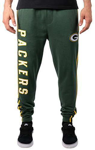 Ultra Game NFL Green Bay Packers Mens Active Basic Jogger Fleece Pants, Team Color 18, Medium
