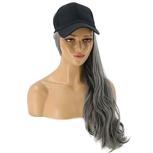 Posional 65cm/26 Pouces Haute Qualité Perruque Cosplay pour Femmes, Long Complète bouclé ondulé Chaleur résistant, Mode Glamour Perruque avec Casquette de Baseball