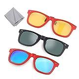 Hifot 3 Piezas Clip Gafas de Sol, Polarizada Lentes Flip Up Gafas para Adecuadas Graduadas Myopia Glasse Conducir Pesca Deporte al Aire Libre