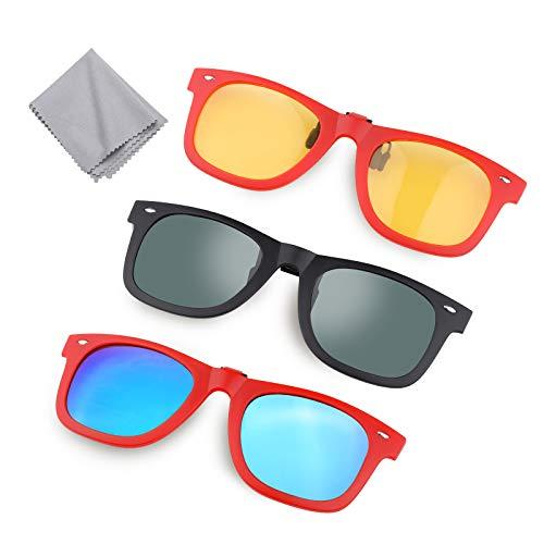 Hifot 3 Piezas Clip Gafas de Sol, Polarizada Lentes...