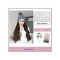 ナチュラル接続髪合成のBlack Hatカーリーヘアストレートヘアウィッグ弾性ニット帽子ウィッグ耐熱女性、2I332,22Inches