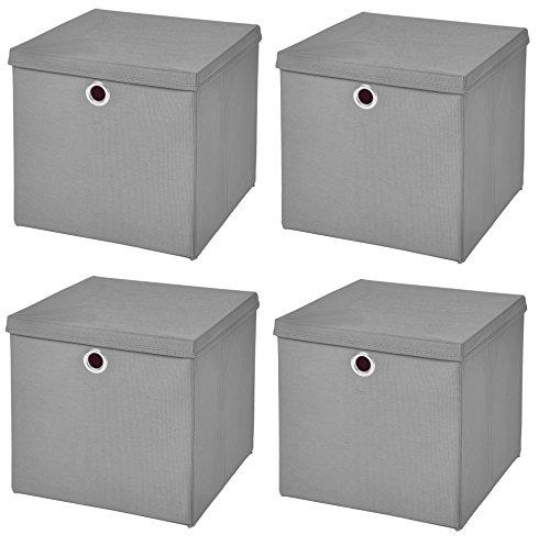 StickandShine 4er Set Hellgrau Faltbox 28 x 28 x 28 cm Aufbewahrungsbox faltbar mit Deckel
