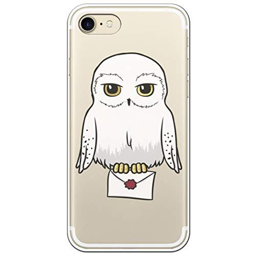 Movilshop Funda para [ iPhone 7 - iPhone 8 ] Harry Potter Oficial [Hedwig Lechuza] Warner de Silicona Flexible Transparente Carcasa Case Cover Gel para Smartphone.