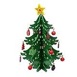 Árbol de Navidad de Madera, Adornos creativos de Navidad en Miniatura 3D DIY Adornos de Escritorio de Mesa de árbol de Navidad con Campanas Colgantes Adornos para Regalo de decoración navideña