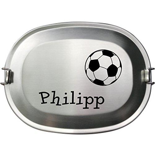 *Laser Tattoo – Die Vesperdose Frühstücksbox Brotdose aus Edelstahl – Gravur des Namens neben einem Fußball*