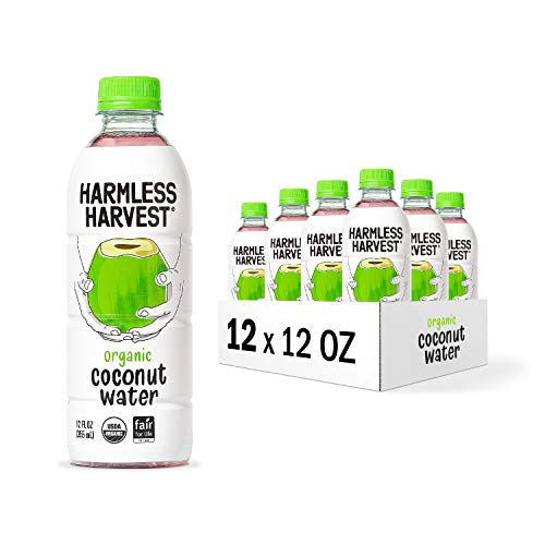 Harmless Harvest Organic Coconut Water | No Sugar Added | Hydrating With Natural Electrolytes | 12 Pack of 12oz