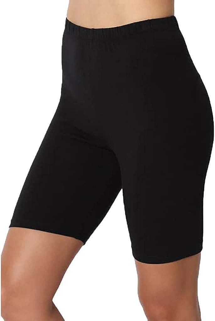 XUETON Womens Mid Thigh Stretch Cotton Span High Waist Active Basic Short Leggings Yoga Pants