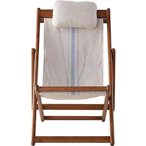 Liegestuhl Klappstuhl aus Holz Hartholz 5 Positionen Einstellbare Gartensofa Sessel mit Leinwand Baumwolle Leinen Kissen Sonnenliege Stuhl Patio Stuhl