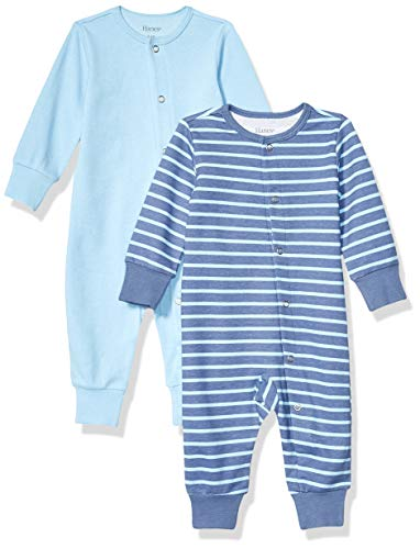Hanes Ultimate Baby Flexy 2 Pack Sleep and Play Suits, Dark Blue Stripe, 12-18 Months