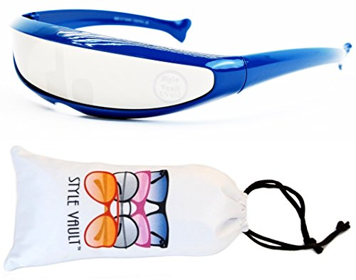 V160-vp Style Vault Robot Space Party Sunglasses (B1655F Blue-Silver Mirror, mirrored)