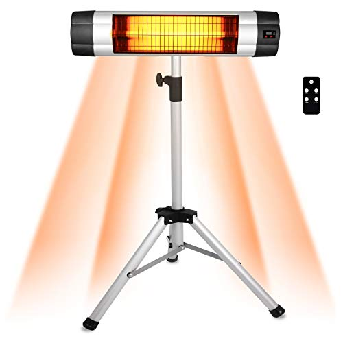1500W Infrared Heater with Remote Control, Wall-Mounted Patio Heater Instant Heating, 24H Timer, LED Display, 2 Installation Methods, 3 Heat Setting, Electric Heater for Outdoor Indoor (Silver-Tripod)