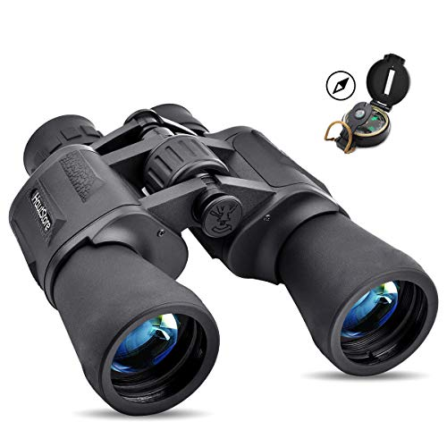 Prismáticos, HautStore 20x50 HD Binoculares Profesionales, Prismáticos Impermeables de Largo Alcance, para Observación de Aves, Viajes, Deportes, con Tapas de Objetivo