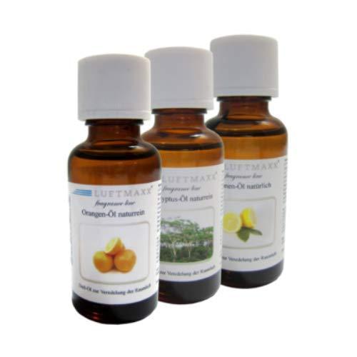 LUFTMAXX 3er Set Duftöl Zitrone - natürlich, Orange naturrein Eukalyptus naturrein je 30 ml für Staubsauger mit Wasserfilter Wasserstaubsauger und Lufterfirscher