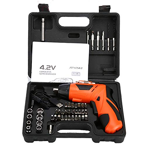 FFXENG 4,2 V accu-boormachine, 300 mAh, 2 versnellingen, 180 draaigreep, spindelvergrendeling, USB-snellader, 45 stuks accessoireset & koffer, B